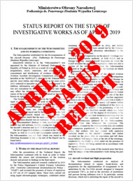 Ministry of National Defense of the Republic of Poland, Reinvestigation Commission of the Crash of Polish Air Force One: Status Report on Investigative Works as of April 4, 2019