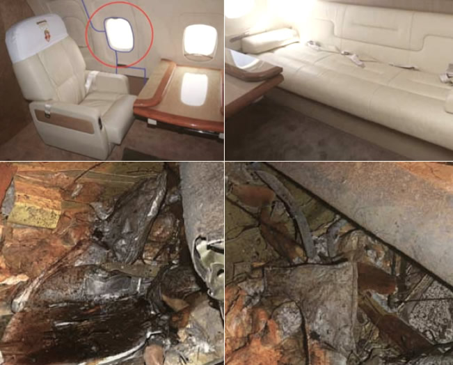 Presidential compartment before and after the crash in Smolensk, Russia.