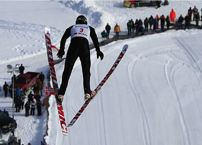 Figure 7. A ski jumper can do a free vertical fall of 75m and survive because of the large forward speed allowing him to make ground contact nearly parallel to the hill surface. Despite the kinetic energy would be smaller without the forward speed he would not survive such fall. This is another good example why the velocity directions are important.