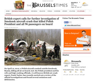 British expert calls for further investigation of Smolensk aircraft crash that killed Polish President and all 96 passengers on board - Reports the Brussels Times.