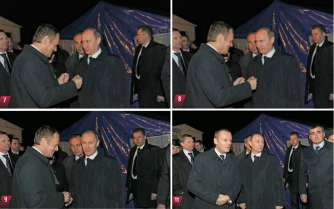 Polish Prime Minister Donald Tusk with Vladimir Putin at the crash site April 10, 2010.