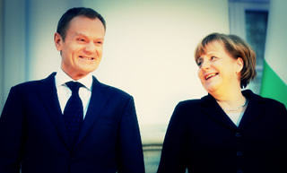 Donald Tusk with Angela Merkel.