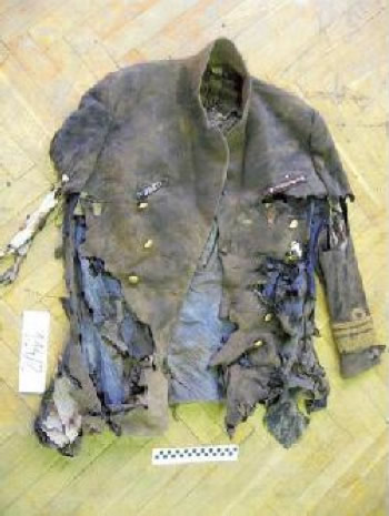 Torn and marginally burned uniform of the passenger of Lounge 3