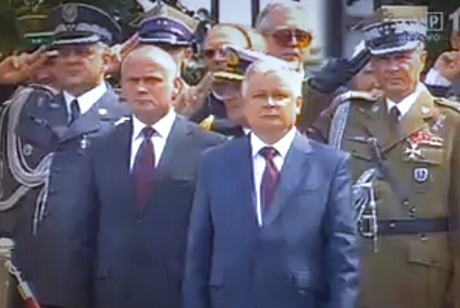 2007 Millitary Parade in Warsaw. Commander-in-Chief of the Polish Armed Forces Gen. Franciszek Gągor, President of Poland Lech Kaczynski, Chief of the Bureau of National Security Aleksander Szczygło, Commander-in Chief of the Polish Air Force Gen. Andrzej Blasik. They all perished on April 10, 2010, in Smolensk, Russia on their way to commemorate the 70th anniversary of the Katyn crime.
