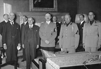 Munich 1938. From left to right: Chamberlain, Daladier, Hitler, Mussolini, and Ciano pictured before signing the Munich Agreement, which gave the Sudetenland to Germany. PHOTO by: Deutsches Bundesarchiv