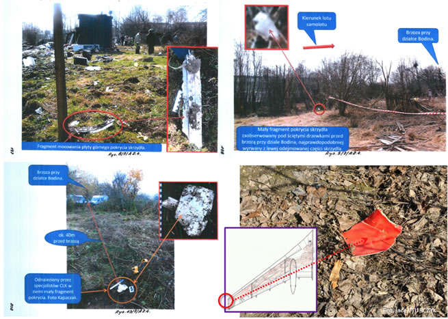Debris of the detachable part of the left wing identified by the Committee and experts of the Prosecutor's Office of the Republic of Poland.