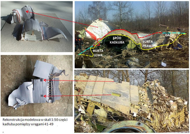 Image of the fuselage destruction with both sides of the fuselage opened and thrown outwards.