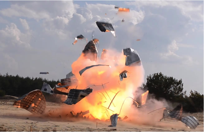 Explosion of a thermo-baric charge in the occupant's part of the fuselage resulting in the complete destruction of the fuselage and the formation of much small debris.