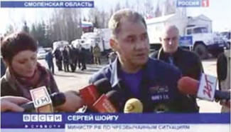 The Minister of Extraordinary Situations gives an interview in which he reports that he has not yet been to the place where the TU-154M plane veered off course.