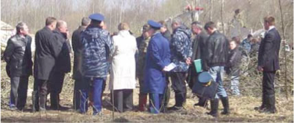 Sergei Shoigu and a special-purpose group at the crash site. (First from right is a Spetsnaz officer).