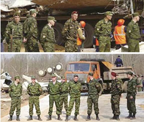 Polish President's Plane Crash, April 10, 2010: Pictures taken by the reporters and witnesses confirm presence of the Spetsnaz Special Forces soldiers cordoning off the crash site.