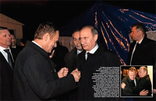 Elated Donald Tusk with Vladimir Putin in Smolensk, April 10, 2010.