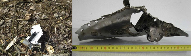 [23] (above left) A piece of debris characteristic of explosion: Source: Analytical Services Pty Ltd; [24] (above right) A piece of debris showing signs of explosion; Source: Prof. J Obrębski.