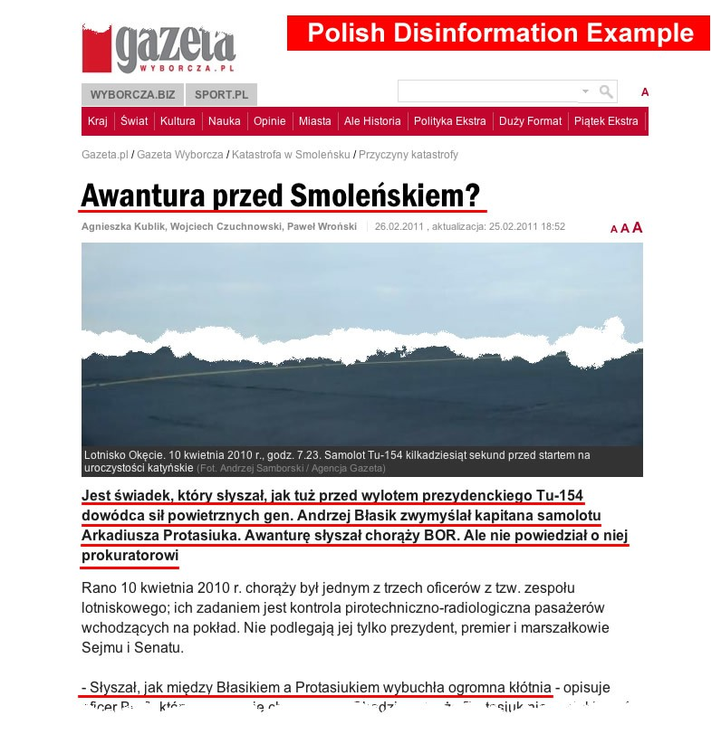 Polish Air Crash Disinformation & Active Measures Campaign With